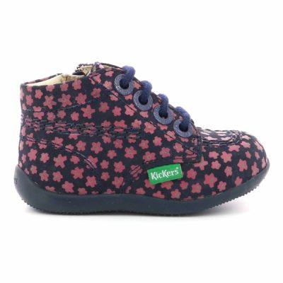 KICKERS BILLYZIP-2 MARINE ROSE FLEURI